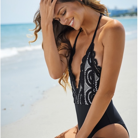 17570102c53 Pilyq Swim | Wear Midnight Gold Lace One Piece | Poshmark
